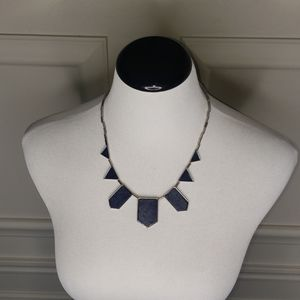 Navy pentagon necklace. House of Harlow Station